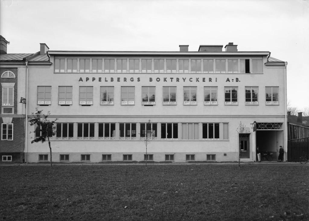 Tryckeriet på Eddagatan år 1936. Foto P Sandberg. Upplandsmuseets saml.