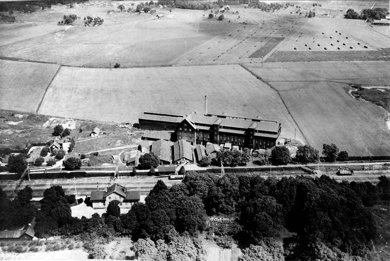Flygfoto Bergsbrunna Tegelbruk AB, sannolikt 1940-tal okänd