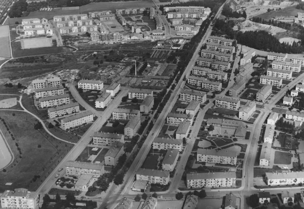 Norra Svartbäcken med tegelbruket år 1950.